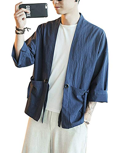 Kimono Japonés Hombre Robe Coat Manga 3/4 Mens Vintage Cloak Cotton Linen Blends Loose Fit Short Coat Jacket Cardigan Armada