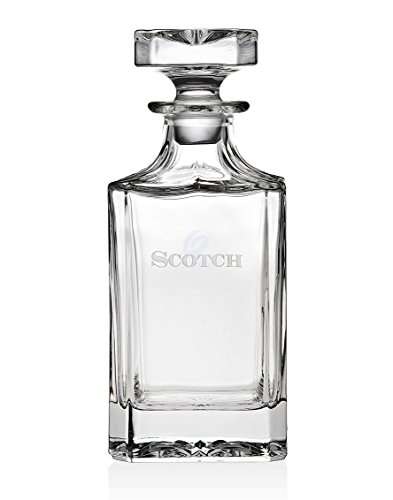 Trinkware Norwalk Whiskey Decanter | Thick Glass Carafe With Stopper | Embossed Scotch - Perfect to Display Fine Whisky From Scotland | Capacity 24oz. / 700ml