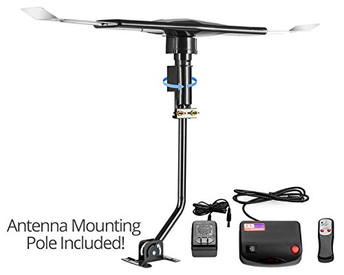 ViewTV 120 Mile Range Outdoor / Attic Amplified Antenna - 120 Miles Range - 360° Rotation - Wireless Remote and Mounting Pole Included - 120 Miles Long Range Outdoor Antenna