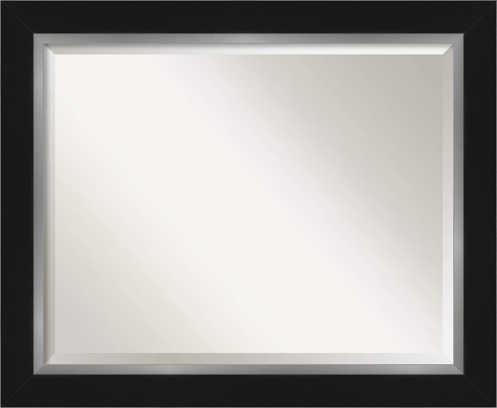 Amanti Art Framed Vanity Mirror | Bathroom Mirrors for Wall | Eva Black Silver Mirror | Wall Mounted Mirror | Medium Mirror | 27.38 x 33.38 in.
