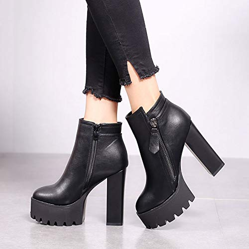 Fashion Ankle Sexy Black Head Match Side Zipper High Boots Shoes Round Table 12Cm Heel Heel Waterproof Super LBTSQ Thick dHqTZdw