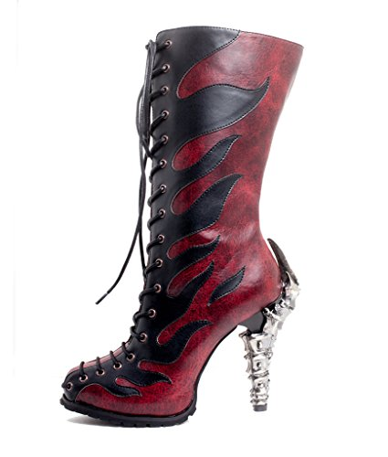 Hades Shoes - Vamp Synthetic Snake Skin with Prehistoric Claw Heel Brown