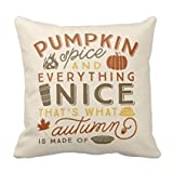 Pillowcase Decorative Throw Pillow Cover Cushion Pumpkin Spice Polyester Pillowcase 18 x 18 Inches