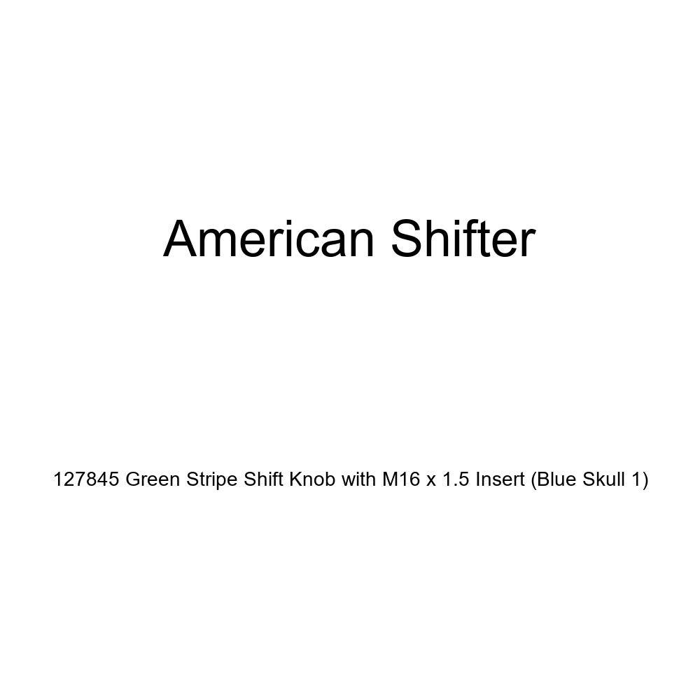 American Shifter 127845 Green Stripe Shift Knob with M16 x 1.5 Insert Blue Skull 1