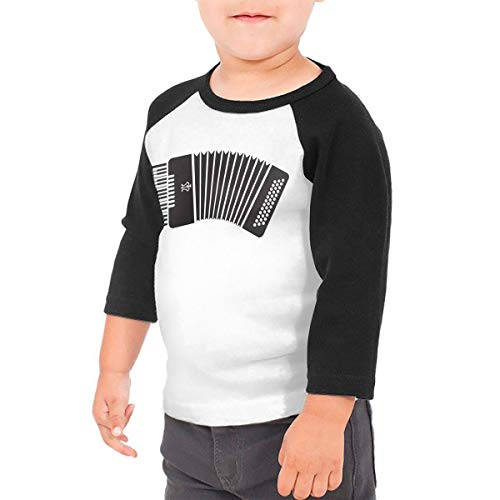 HIGASQ Unisex Baby Accordion Toddler's O Neck Raglan 3/4 Sleeve Baseball T Shirt for 2-6 Boys Girls Black