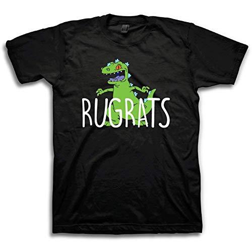 Nickelodeon Mens 90's Classic Shirt - Rugrats & Ren and Stimpy Vintage T-Shirt (Black/Green, Medium)