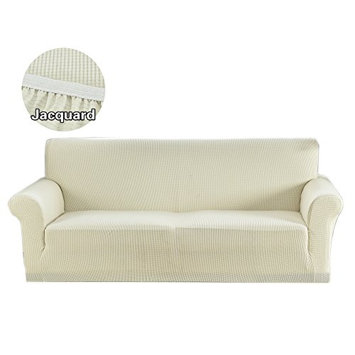 Argstar Couch Slipcover for 3 Seater Sofa Spandex Polyester Stretch Anti-wrinkle Slip Resistant Snow White - Sofa White Couch