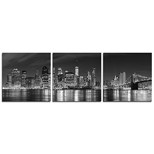 tyscape Building Painting Wall Art - Black and White Photos New York City at Night - Canvas Art Home Decoration - 12x12 inches ()