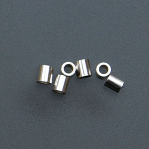 (Sterling Silver Tube Crimp Beads, 2 X 2 Millimeters, Pack Of 100 | BDS-110.06)