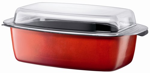 Silit 5-1/2-Quart Gourmet Roasting Pan with Lid, Energy Red