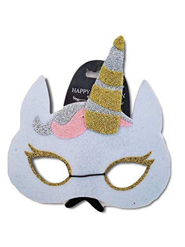Unicorn Felt Mask with White Ears and Gold Horn Sticking Out on Top; Child Lrg or Adult Sm; Kids Parties, Halloween, Birthdays, etc -