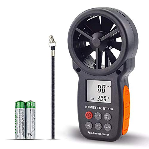 BTMETER Digital Anemometer Handheld BT-100 Wind Speed Meter Gauge, Accurately Measure Wind Temperature Speed CFM with MAX/MIN/AVG, Backlight LCD for Shooting, HVAC, Drone Flying