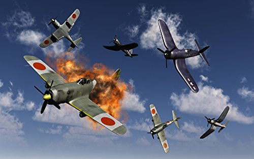 Posterazzi American Vought F4U Corsair aircraft and Japanese Nakajima fighter planes engaged in aerial combat over the Pacific during World War II. Poster Print (8 x 10)