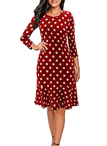 Womens 3/4 Sleeve T-Shirt Dress Polka Dots Casual Short Tunic Dresses with Ruffle Hem Red M