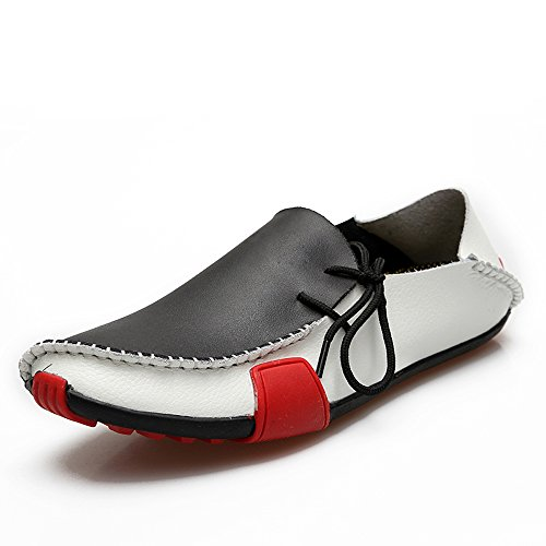 Men Driving Shoes Flats Casual Loafers%100 Genuine Leather 1286 White ATCIFFY