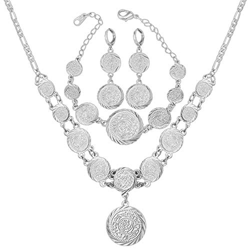 WELRDFG Wedding Women's Jewelry Sets Platinum Plated and Coins Antique Earrings Bracelet Necklace Set (Platinum Plated)