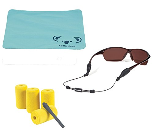 Koala Lifestyle Croakies Arc Endless Eyewear Wire Retainer Modular Floating Sunglass Strap with Large and XL Ends | Adjustable Sports Glasses Cable | 2pk Bundle + Cloth, Black