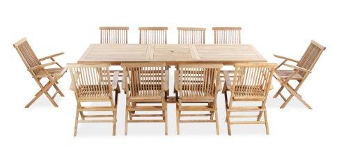 Salon de Jardin 6 Places Octogonal Extensible en Teck de Grade A ...