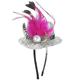 Capelli New York Headband Fascinator With Top Hat & Feathers Silver