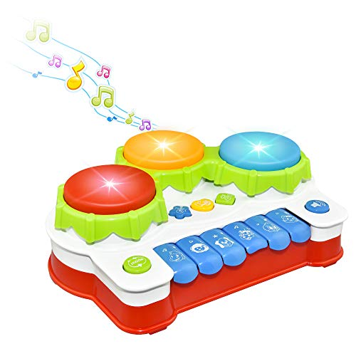 Fricon Music Toys for 1-3 Year Old Boys Girls, Drum Keyboard Musical Toys for Babies 6-12 Months Birthday Gift for 1-3 Year Old Baby Infant Toddler Learning Toys Age 1-3 Stocking Stuffers KMUSDM01
