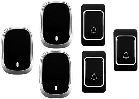 IP44防水ワイヤレスドアベル、ホーム超長距離ドアチャイムキット、3プッシュボタン+3 レシーバー、36着メロ、4音量レベル,黒