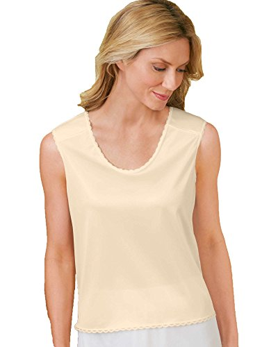 (Velrose All-Nylon Padded-Shoulder Camisole, Beige, 1X Plus - Misses, Womens)