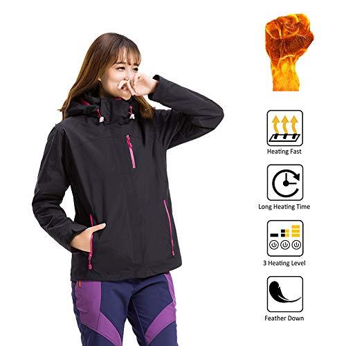 Chaqueta eléctrica, 5V, USB, chaqueta de la calefacción de las señoras con el casquillo impermeable, manera de las...