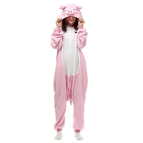 Unisex Adults Christmas Costumes Onesie Animal Outfit Sleepwear Pink Pig