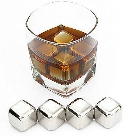 Jun Chen & Sheng Acero Inoxidable Whisky Stones-Alta tecnologia de refrigeracion-Cubitos de Hielo Reutilizables(Set de 8 Piedras escalofriante+Pinzas de Hielo) Regalo para Hombres