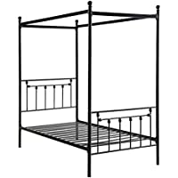 Homelegance Chelone Metal Canopy Twin Bed, Black