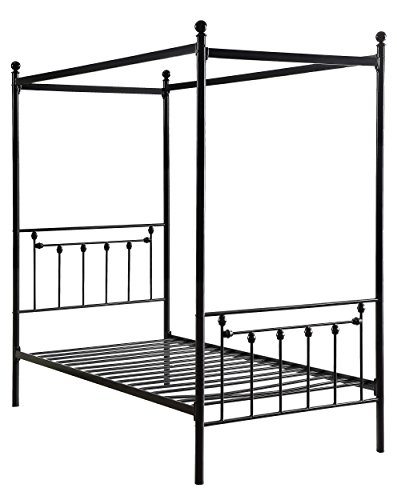 (Homelegance Chelone Metal Canopy Bed, Twin, Black)