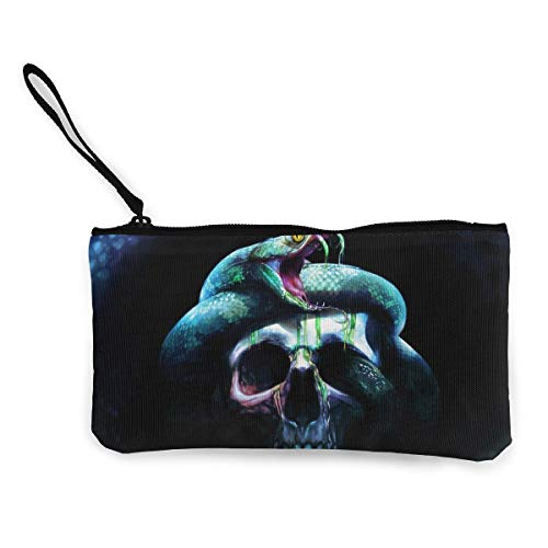 Oomato Canvas Coin Purse Skull Teeth Snake Cosmetic Makeup Storage Wallet Clutch Purse Pencil Bag -