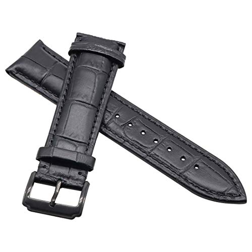 AUTULET Genuine All Black Replacement Leather Watch Strap 17MM