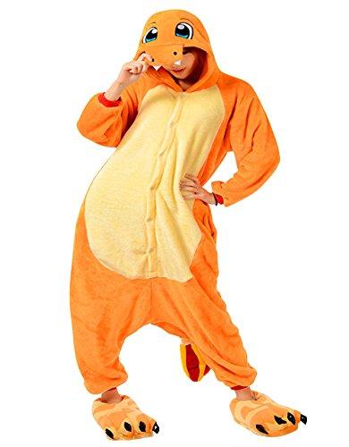 Charmander Hoodie Costume (Kisstyle Unisex-adult Kigurumi Onesie animal pajamas M Charmander)