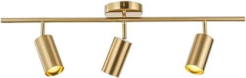 Modo Lighting Adjustable Track Lighting Fixture Brulshed Brass Flush Mount Ceiling Light Fixture afor Kitchen Dining Room Spotlight 29.5″/ 75cm