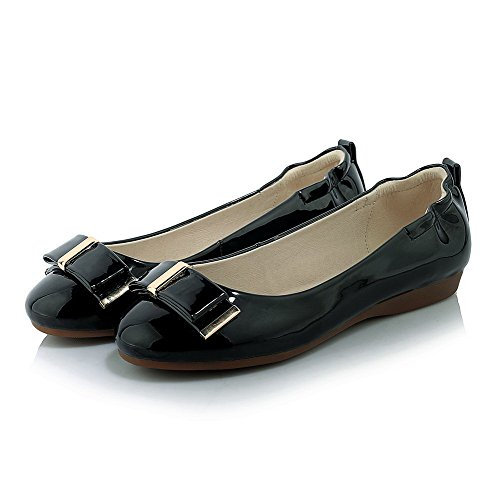 Amoonyfashion Vrouwen Pu Solide Pull-on Ronde Gesloten Teen Lage Hakken Pumps-schoenen Zwart