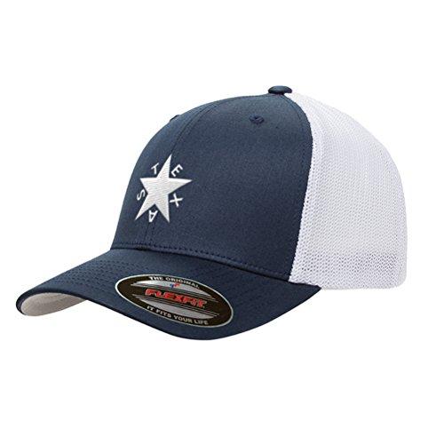 (Republic of Texas Mesh Trucker Zavala Star Snapback Premium Yupoong Adult Retro Cap Hat 6511 (Navy/White))
