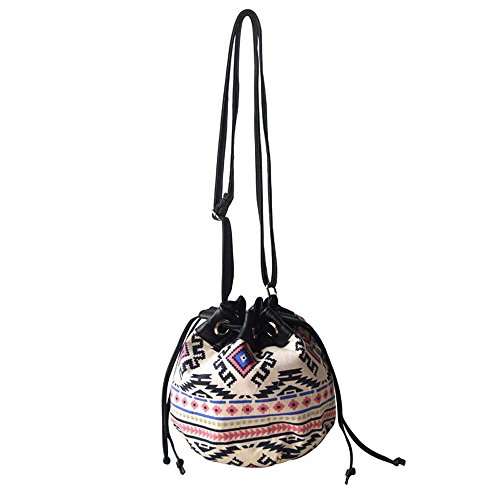 Black Bucket Handbag Style Tote Bag Women Drawstring Shoulder Vintage Tassels Ethnic DELEY wqAPx4C