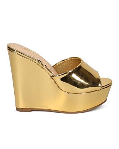 Sandalo Con Zeppa Con Plateau Donna Alrisco - Sandalo Con Tacco Peep Toe - Conveniente Sandalo Con Tacco Casual Elegante Estivo - Hc54 By Liliana Collection Gold Metallic