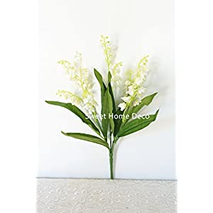 Sweet Home Deco 12'' Silk Lily of the Valley Artificial Flower Bush (5 Stems w/ Flower Heads) (3, White) 106