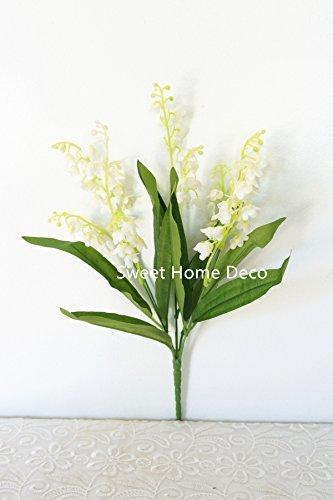 The Valley Of Bouquet Lily (Sweet Home Deco 12'' Silk Lily of the Valley Artificial Flower Bush (5 Stems w/ Flower Heads) (3, White))