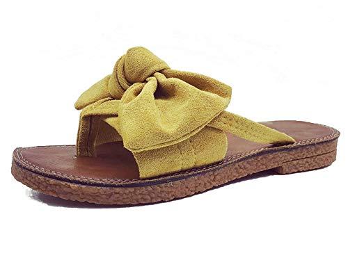 b6109aaec3c3 Syktkmx Womens Slides Flip Flops Cute Thong Strappy Slip on Bowknot Flat  Sandals