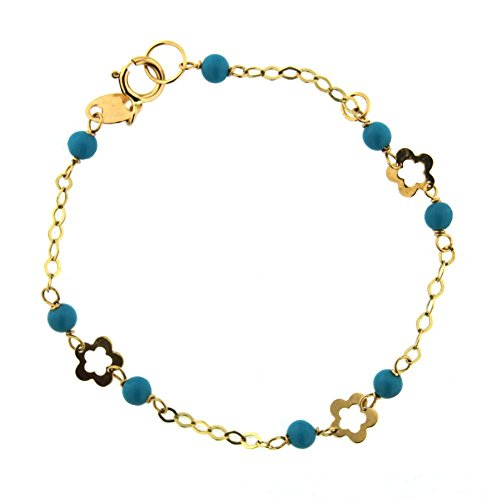 18K Yellow Gold Turquoise paste Beads and open flowers bracelet 5.60 inch by Amalia