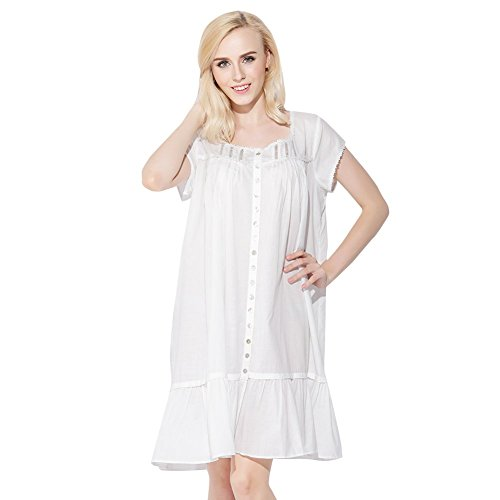 Jinyufeng Mädchen Nachthemd Elegant Quadrat-Ansatz kurze Hülsen Weiß DK6018 (S/M)