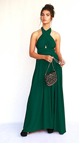 Women's Infinity Emerald Green Prom Dress, Bridesmaid Evening Dress, Maxi Long Dress for Wedding, Elegant Lycra Gown by Guy Sharon