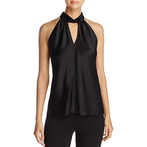 Elie Tahari Womens Elastia Silk Velvet Burnout Collar Halter Top Black M ()