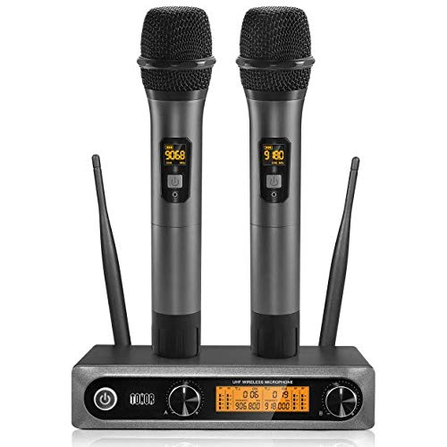 Wireless Microphone UHF, TONOR Dual Professional Dynamic Mic Handheld Metal Microphone Set for Karaoke, Party, DJ, Church, Wedding, Meeting, Class Use, 200ft (Microphone Wireless)