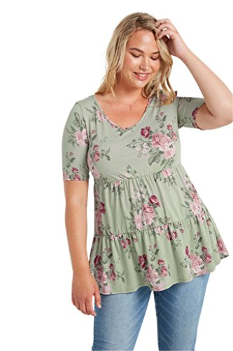 Poshsquare Womens Short Sleeve Baby Doll Ruffle Tunic Plus Shirt Top USA Sage Floral 1XL
