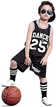 LOLANTA Boys 2 Piece Tank Top and Shorts Set, Kids Hip Hop Street Dance Costume Basketball Outfits