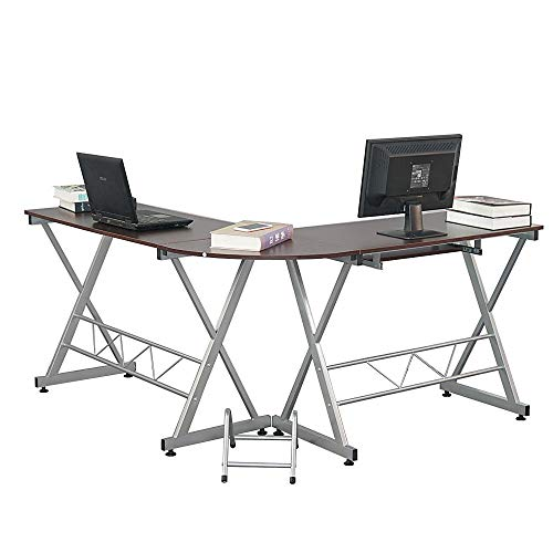 Price comparison product image Corner L Shaped Office Desk Workstation with Keyboard Tray and CPU Stand Brown